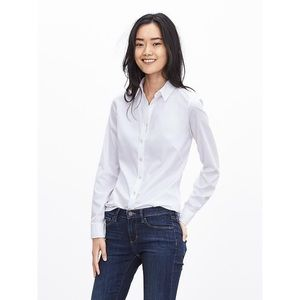 Banana Republic Fitted Non-Iron Shirt   White